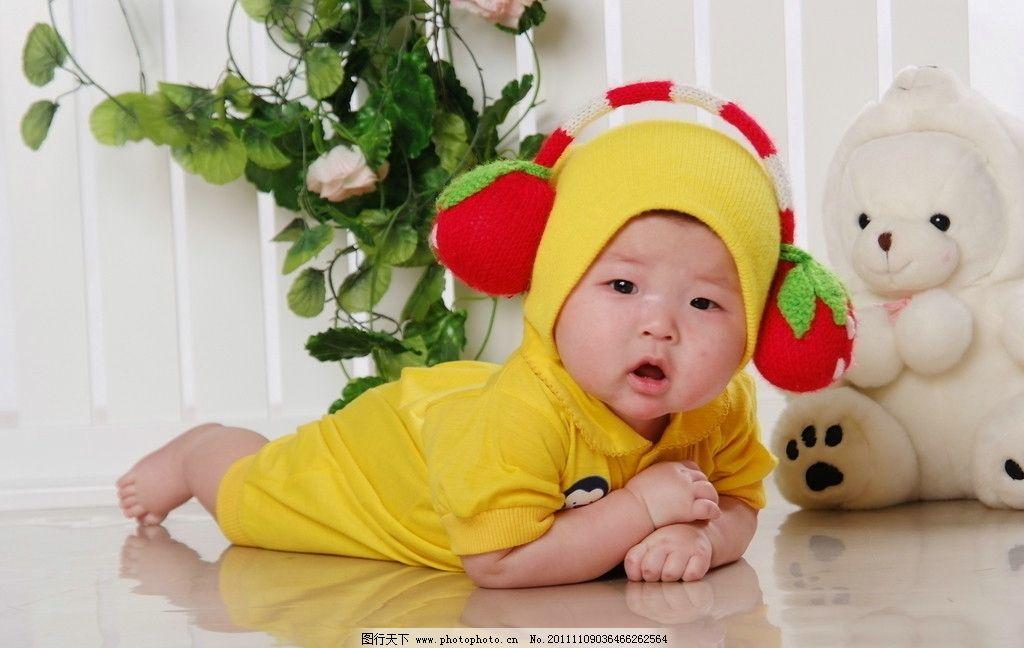 小孩子 可爱 娃娃 黄色衣服 毛毛熊 卡哇伊 儿童幼儿 摄影