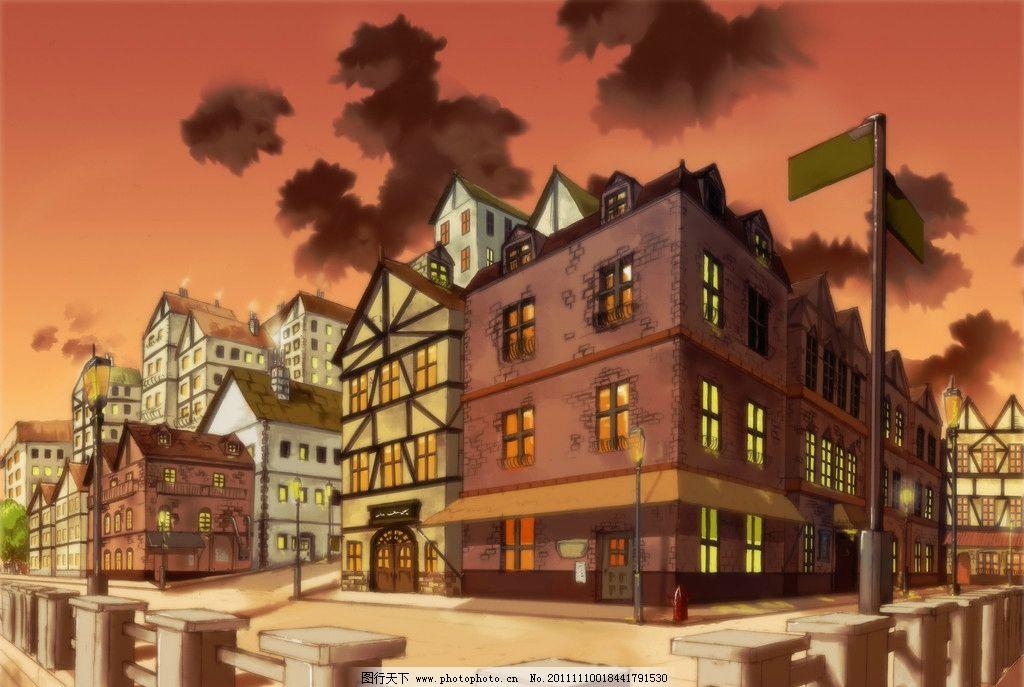欧式建筑别墅漫画