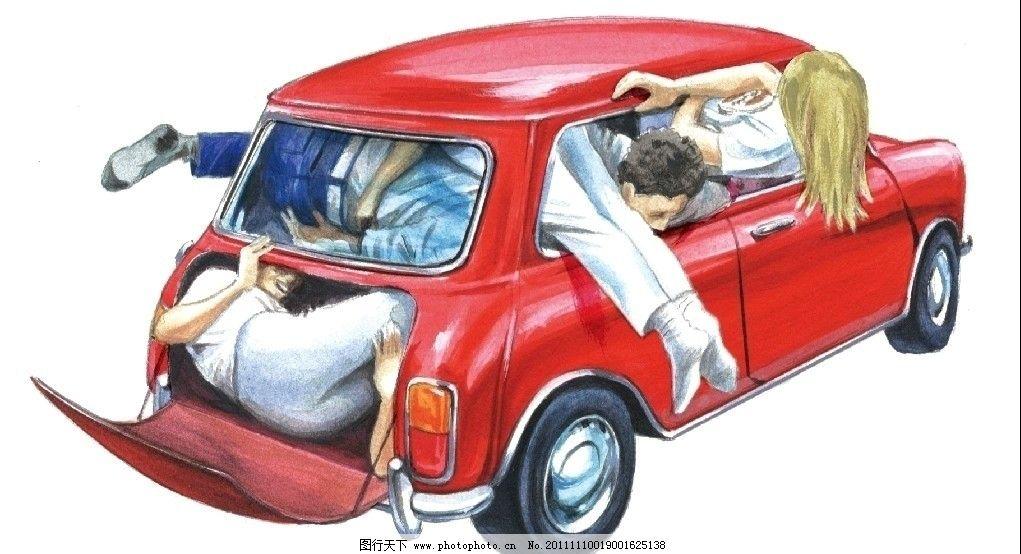 手绘 汽车 宝马mini 宝马 现代科技 交通工具 轿车 两厢车 世界名车