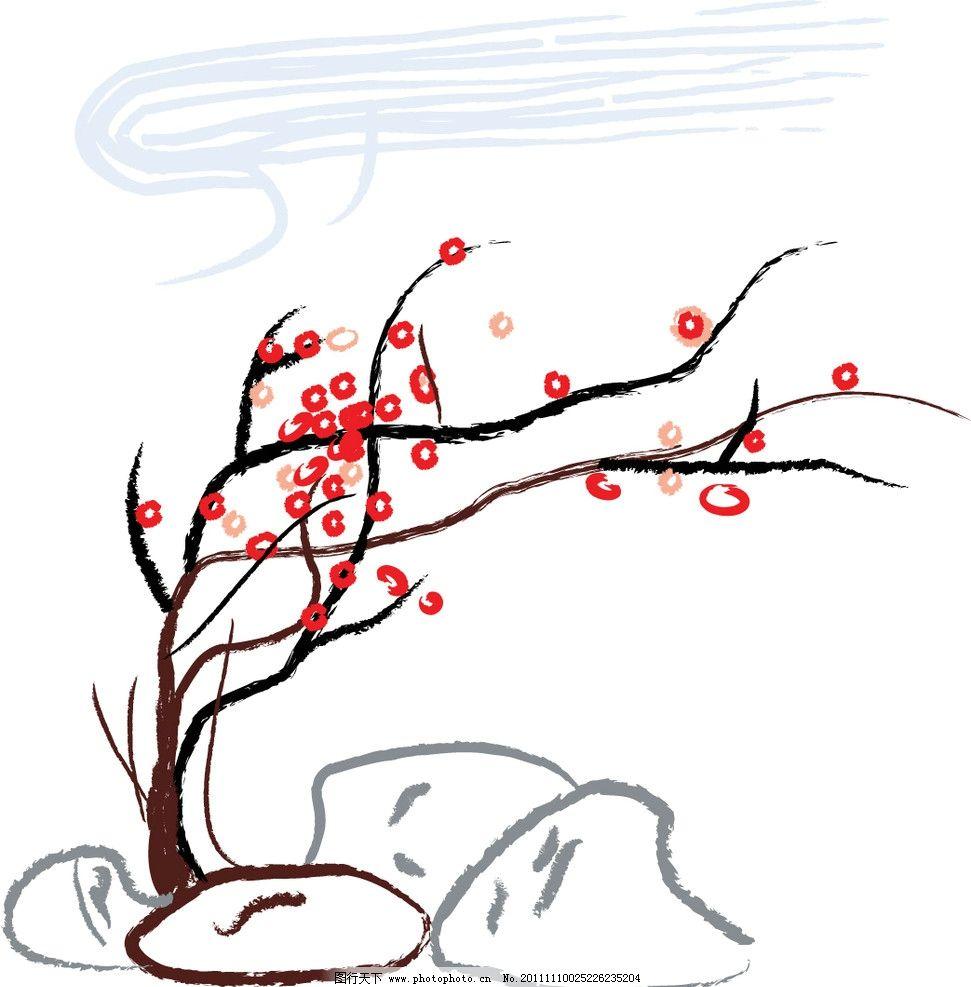 梅花 国画 树木树叶 生物世界 矢量 ai