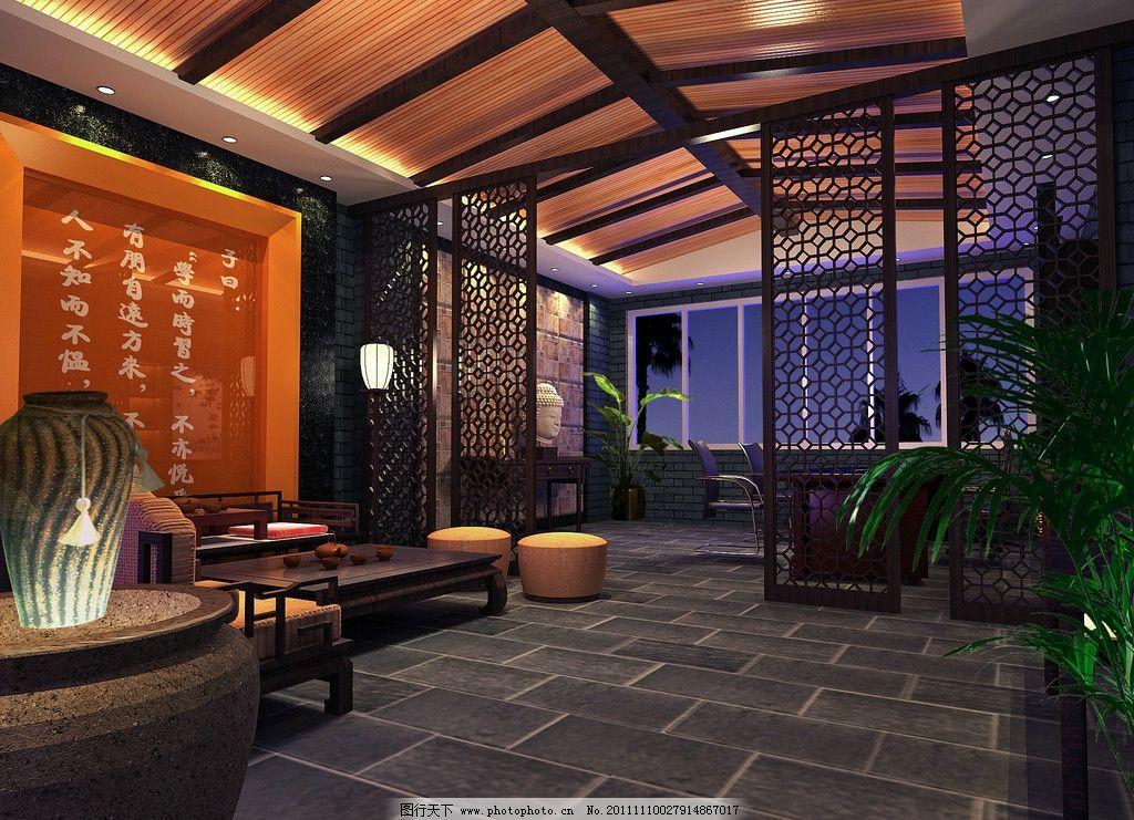 中式客厅 中式客厅效果图 室内 背景 拼花 隔断 雕花 阳台