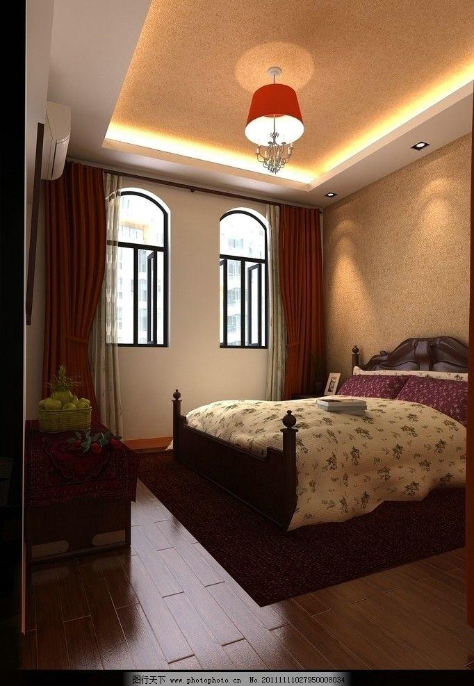 卧室效果图 床 书 花 木地板 室内设计 环境设计 设计 72dpi jpg