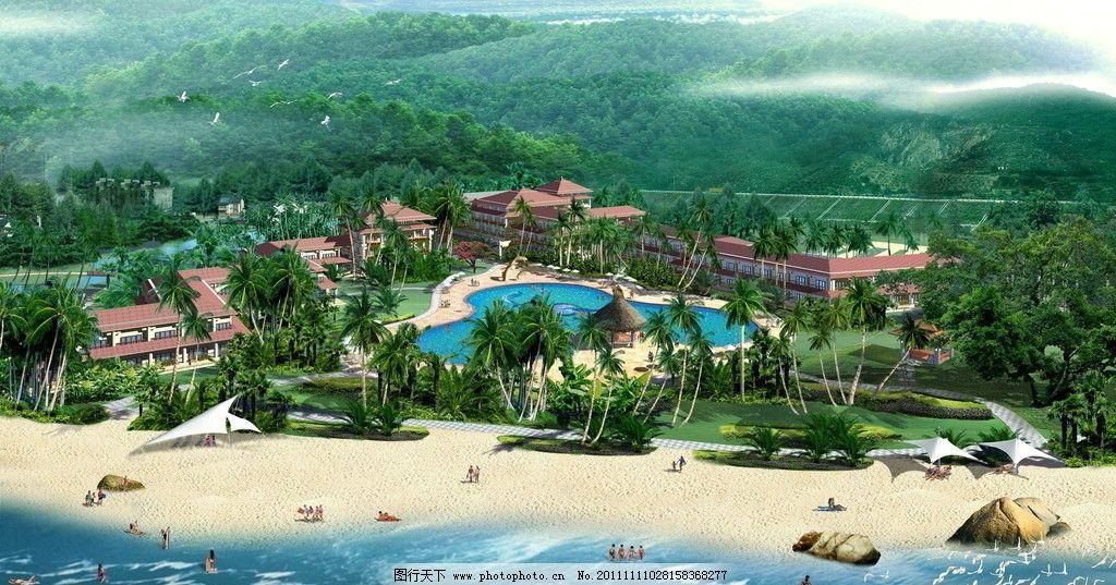 海滩公园景观效果图 园林花镜效果图 建筑效果图 鸟瞰效果图 公共建筑