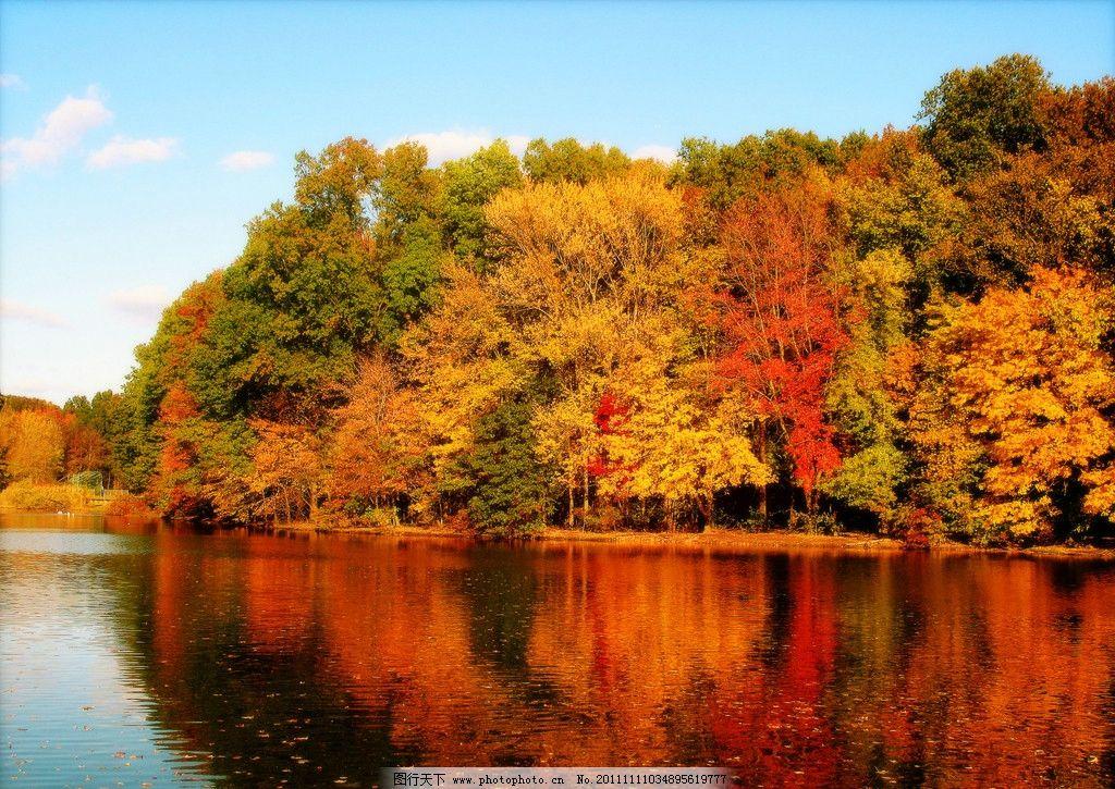 秋天树木 湖泊 湖水 美丽风光 风景图片 美丽风景 风光图片 秋季风光