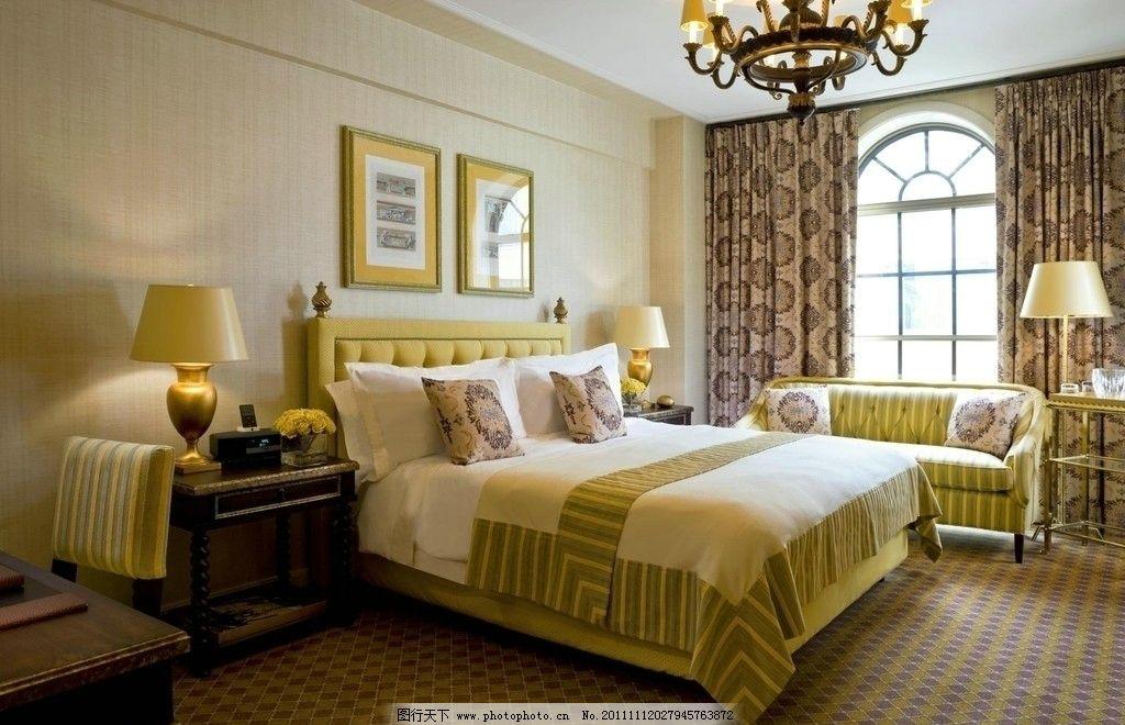 室内设计 酒店 欧洲风格 优雅 吊灯 床 台灯 壁画 环境设计 设计 72