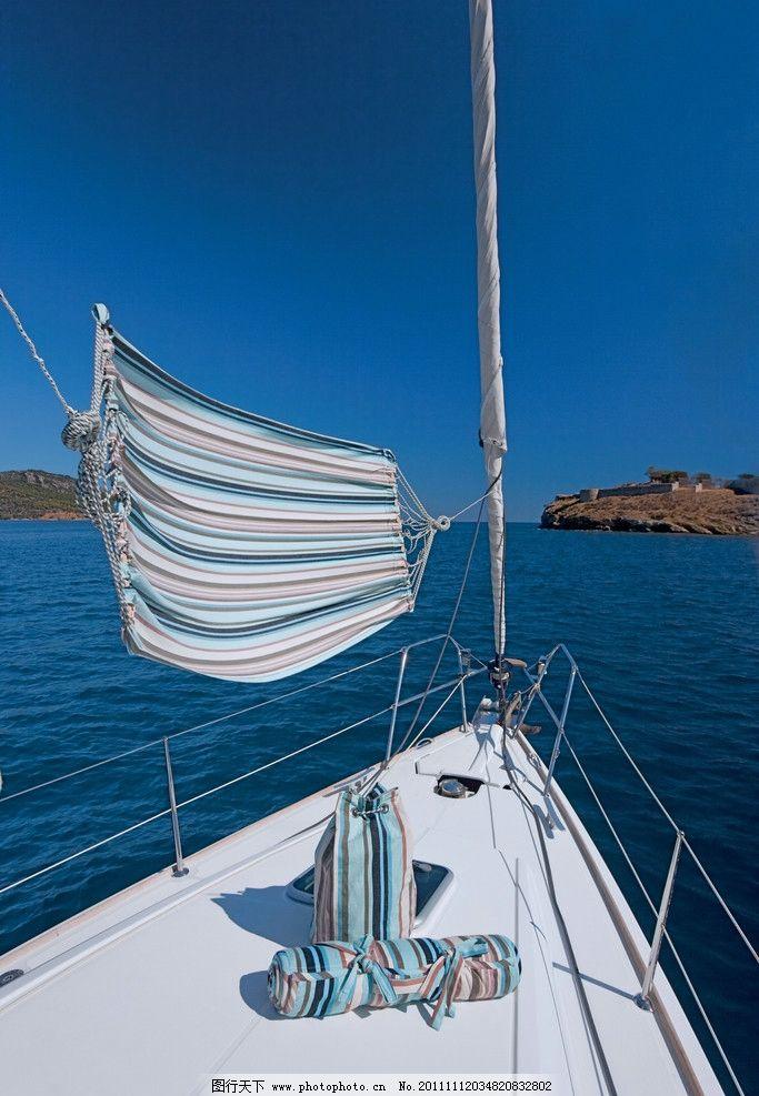 大海 游艇 天空 帆船 一帆风顺 岛屿 大自然 自然环境 美丽风景 自然