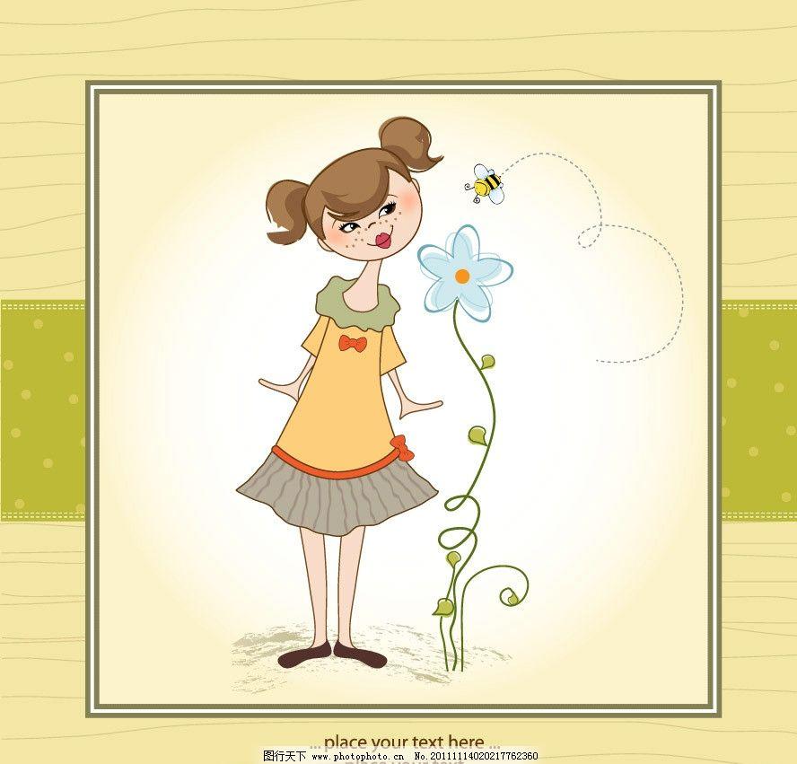 可爱小女孩花纹花朵蜜蜂卡片背景图片