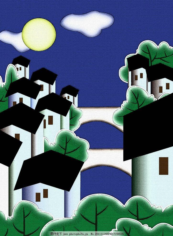 风景装饰画 风景 夜空 小镇 蓝天 白云 树 风景装饰 卡通风景 自然