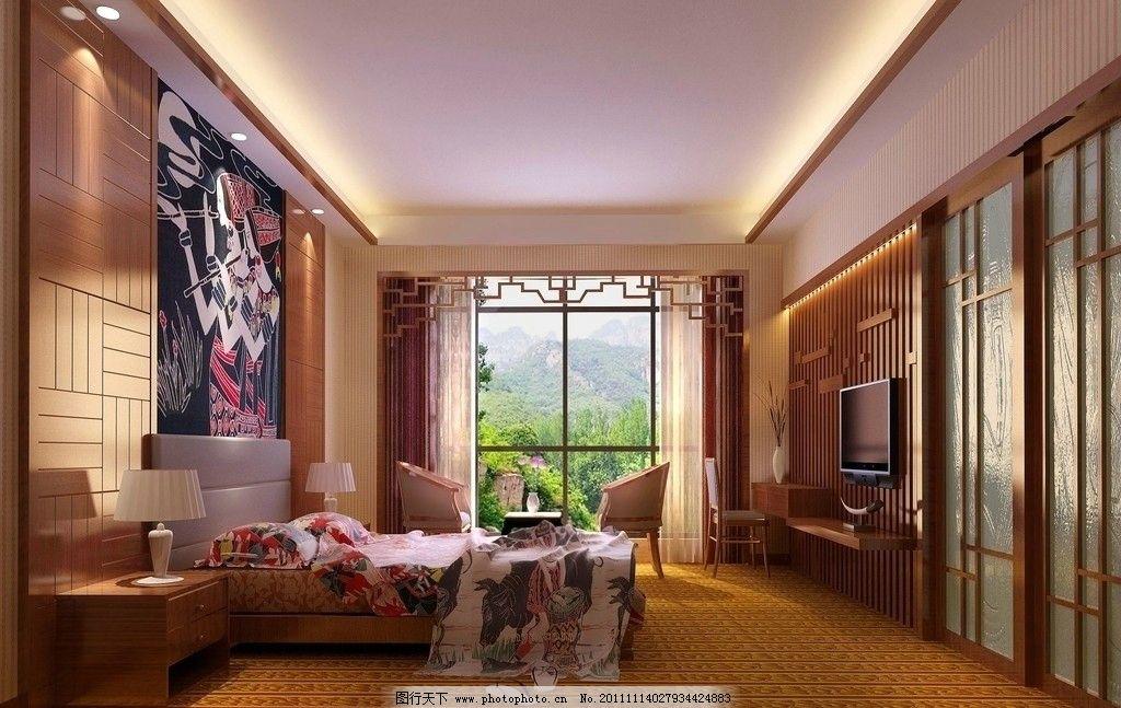 度假酒店中式套房效果图图片