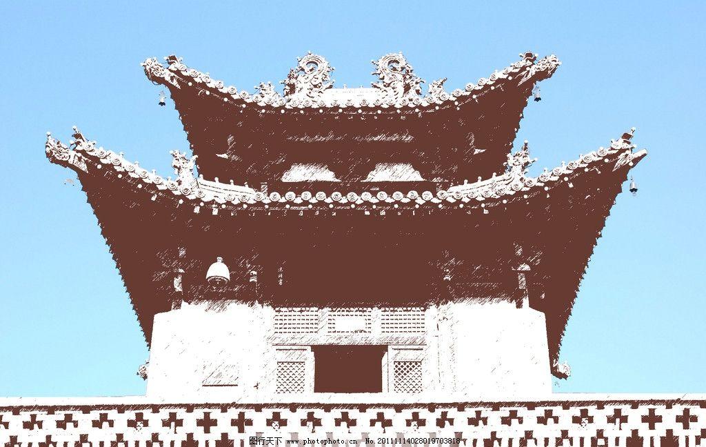 观风楼 手绘 手绘风 平遥古城 山西 晋中 历史文化名城 世界遗产