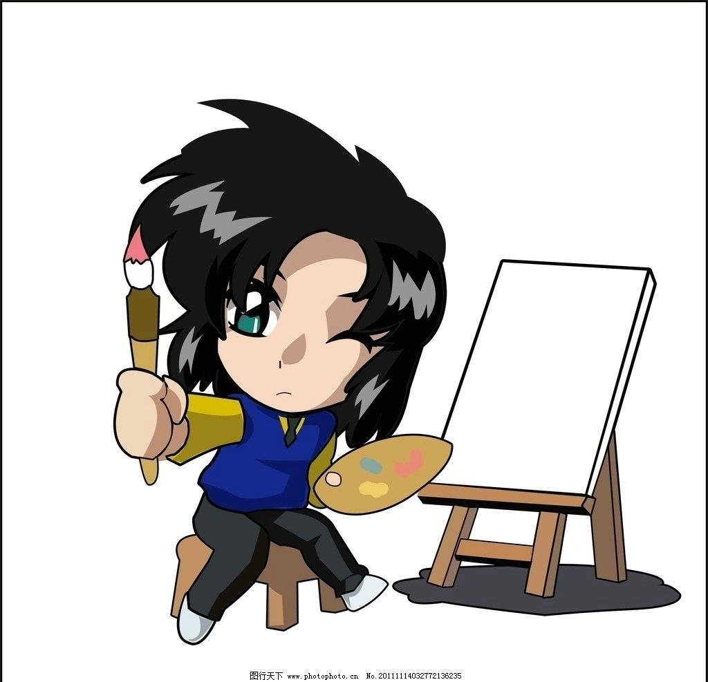 动漫人物 动漫 人物 画板 画笔 调色盘 颜料 白色背景 卡通 卡通人物