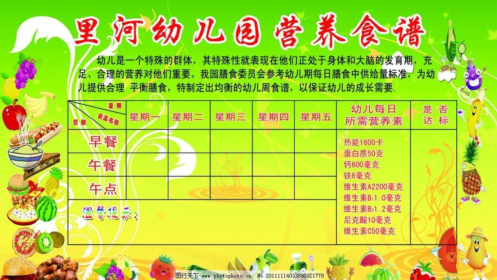 幼儿园营养食谱 幼儿园展板 食谱 卡通水果图片 绿色背景图片 营养