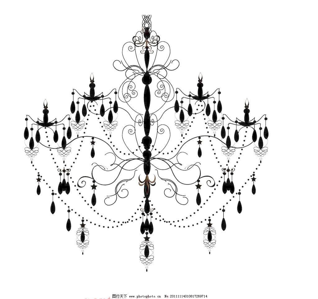 欧式闪亮水晶枝形吊灯 黑白 华丽 家居家具 建筑家居 蜡烛 浪漫