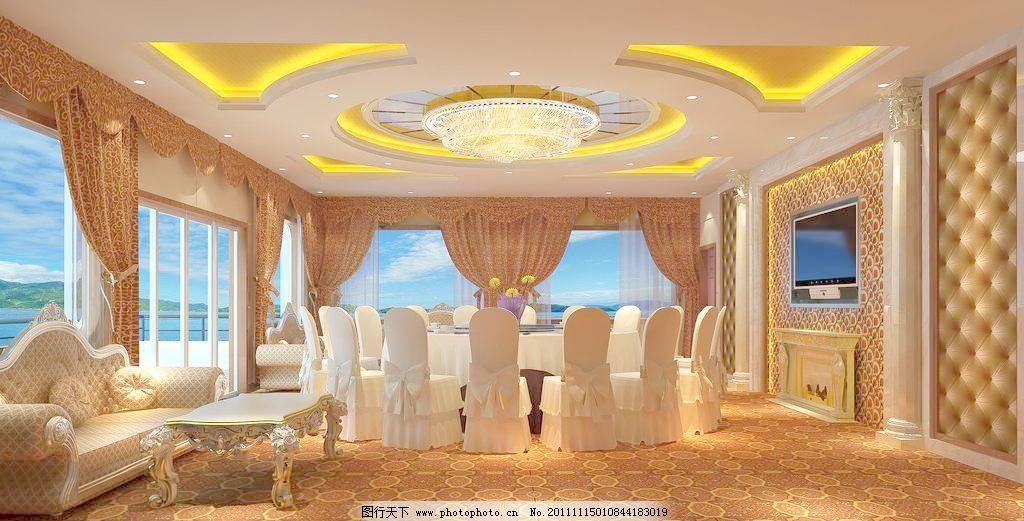 室内设计        桌子 欧式餐厅包厢效果图设计素材 欧式餐厅包厢效果
