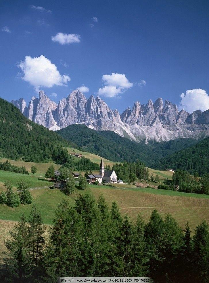 自然风光 风景 美好景色 山峦 雪山 绿树 草地 壮丽河山 山水风景