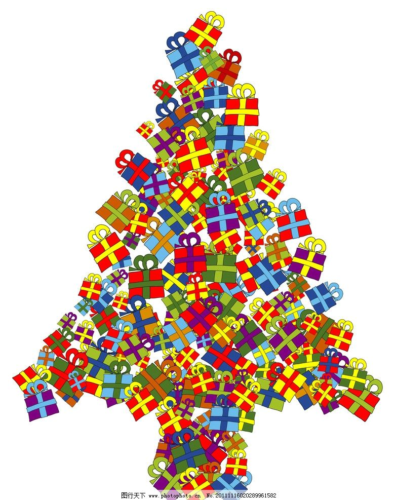 圣诞树 礼盒树 礼品树 背景底纹 底纹边框 设计 300dpi jpg