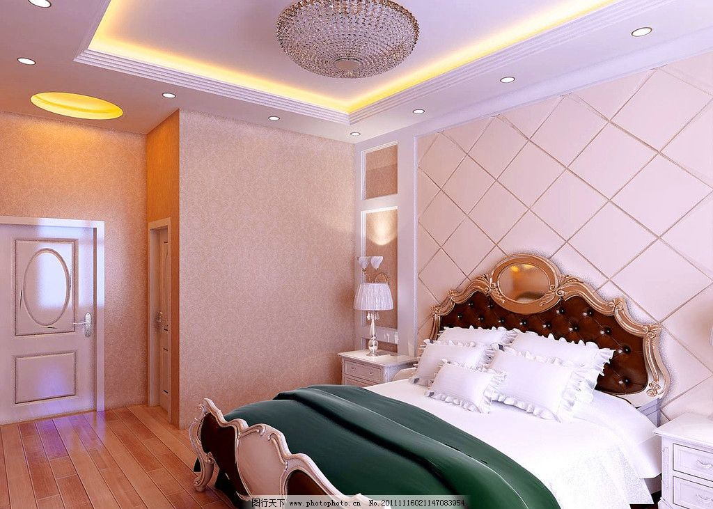 欧式卧室 卧室效果图 高贵床 水晶灯 床头背景 室内模型 3d设计模型