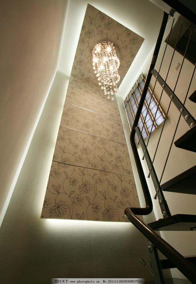 楼梯间吊顶 楼梯扶手 墙纸 造型吊顶 水晶吊灯 刘克空间设计专辑 室内
