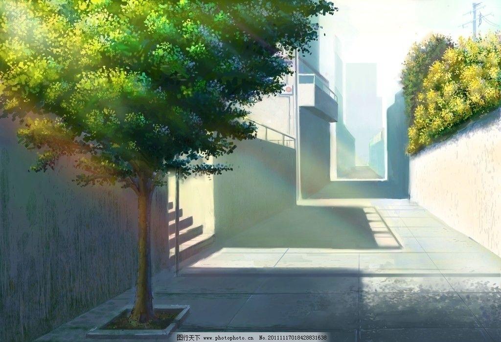 小镇 阳光 明媚 街道 手绘 风景漫画 动漫动画 设计 508dpi jpg