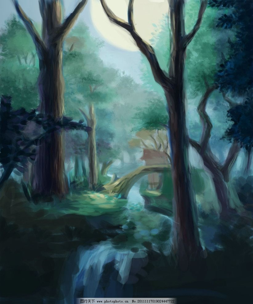 夜森林 板绘 黑夜 绘画书法 文化艺术