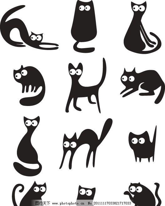 可爱的小猫 可爱 猫咪 小猫 猫 黑猫 卡通 动作 表情 矢量素材 eps