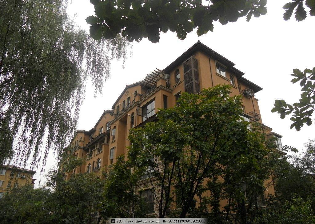 欧式建筑 别墅 红墙灰瓦 西班牙风情 欧式小区 小区绿化 建筑摄影