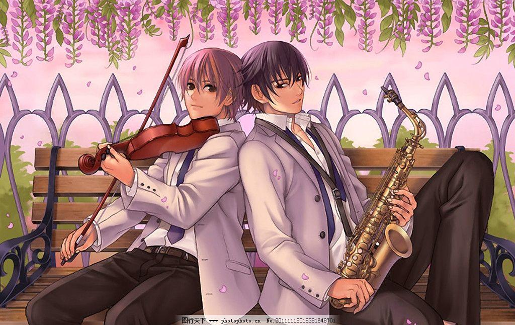 乐手 手绘 动漫人物 帅哥 男生 音乐 人物 小提琴 萨克斯 动漫动画