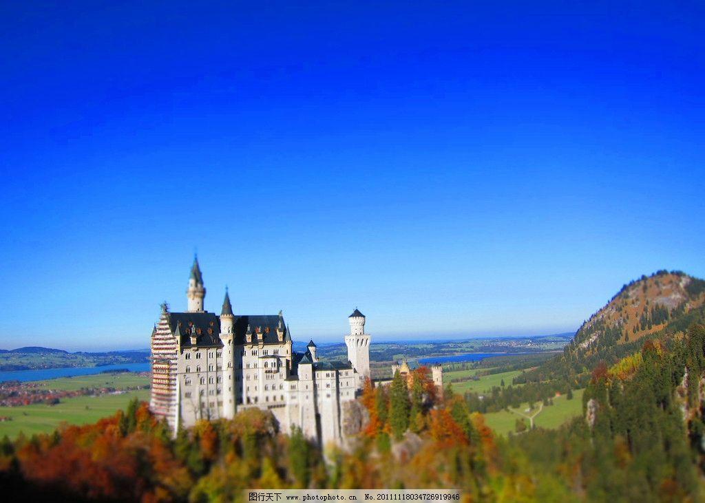 新天鹅堡 欧洲 旅游 德国 福森 城堡 蓝天 秋色 秋天 古堡