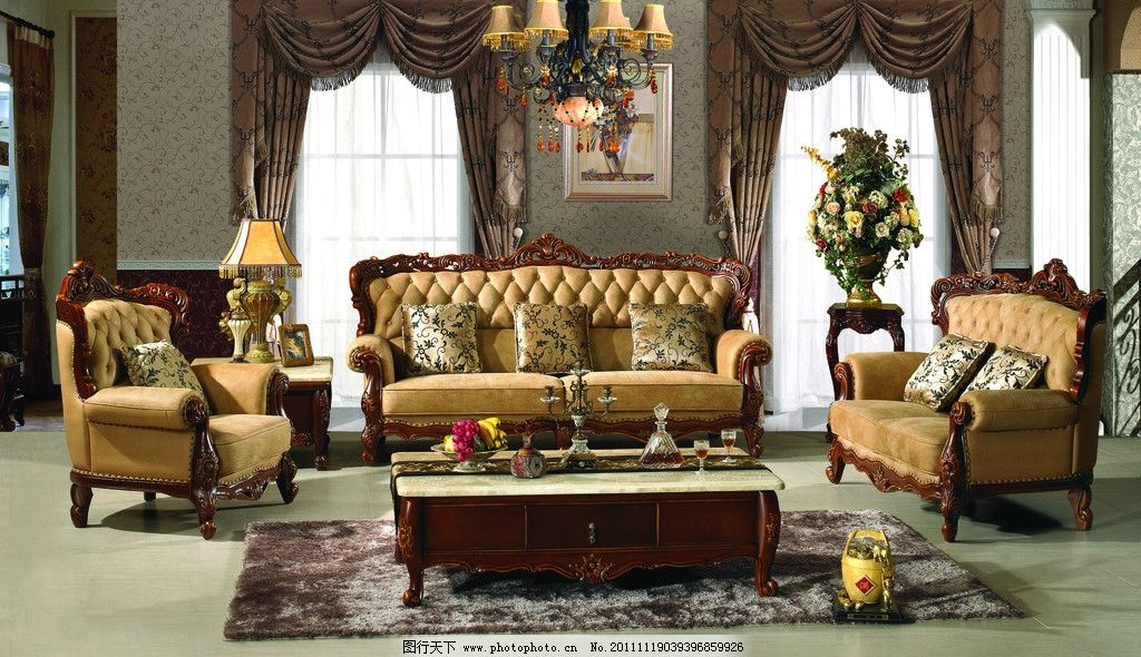 欧式沙发 欧式 沙发 建筑 地板 地毯 皮沙发 木雕花 雕刻 窗帘 窗户