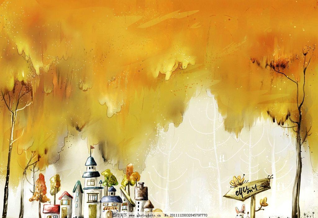卡通风景 卡通风景画 儿童 抽象风景 草木 城堡 建筑 小兔 源文件