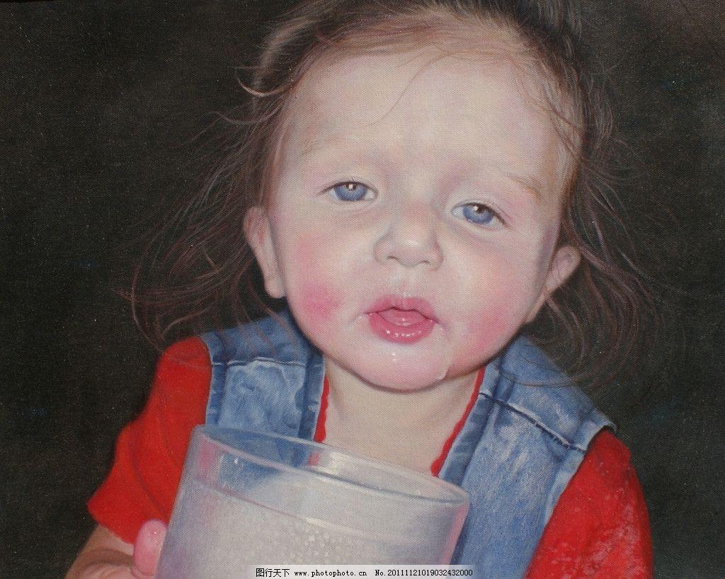 宝宝喝水可爱图片