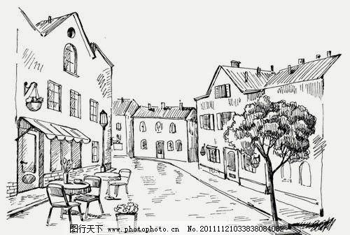 手绘街道咖啡馆 素描 路边 咖啡厅 树木 欧式 建筑 矢量素材