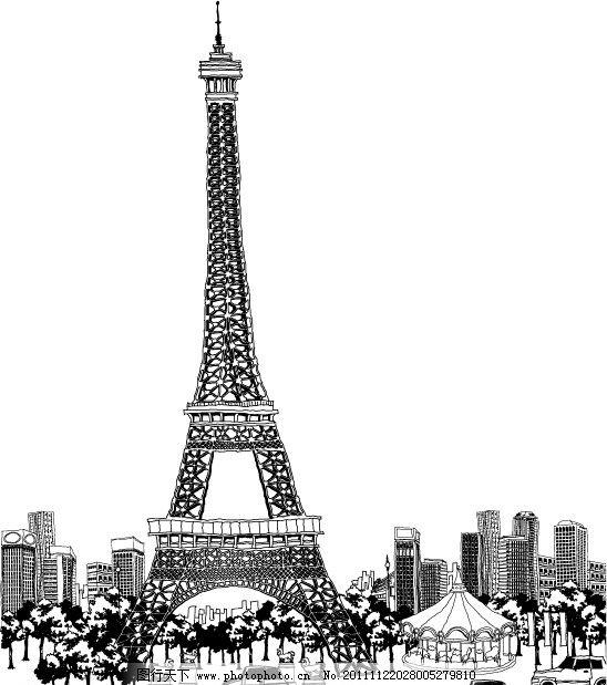 埃菲尔铁塔矢量线稿 埃菲尔铁塔
