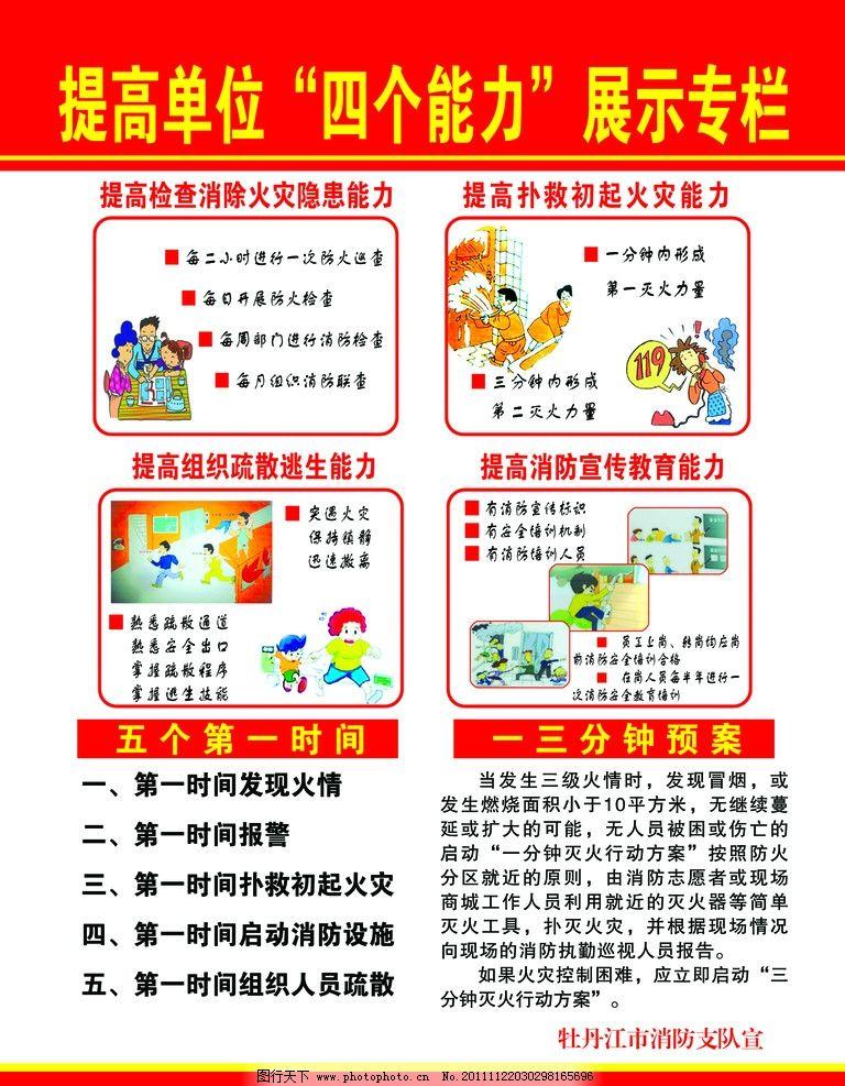 """消防专栏 消防""""四个能力展示专栏队 消防漫画 消防展板 广告设计模板"""
