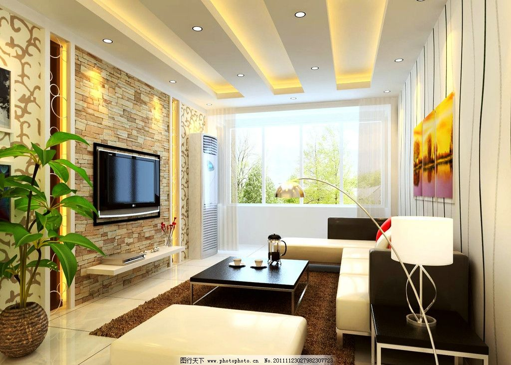 客厅效果图             家装 横梁 电视背景墙 室内设计 环境设计