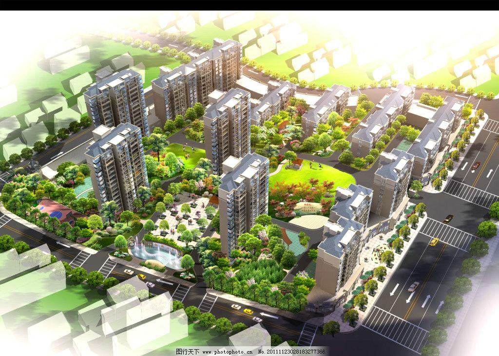 城市公园鸟瞰图 城市公园景观效果图 园林花镜效果图 建筑效果图 鸟瞰