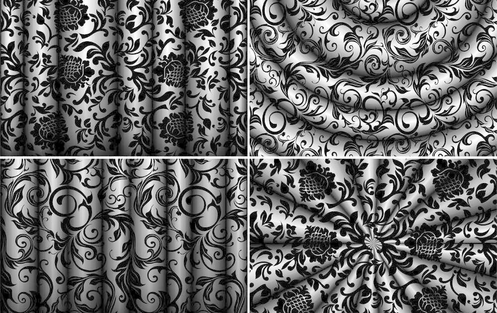 欧式花纹窗帘丝绸背景图片