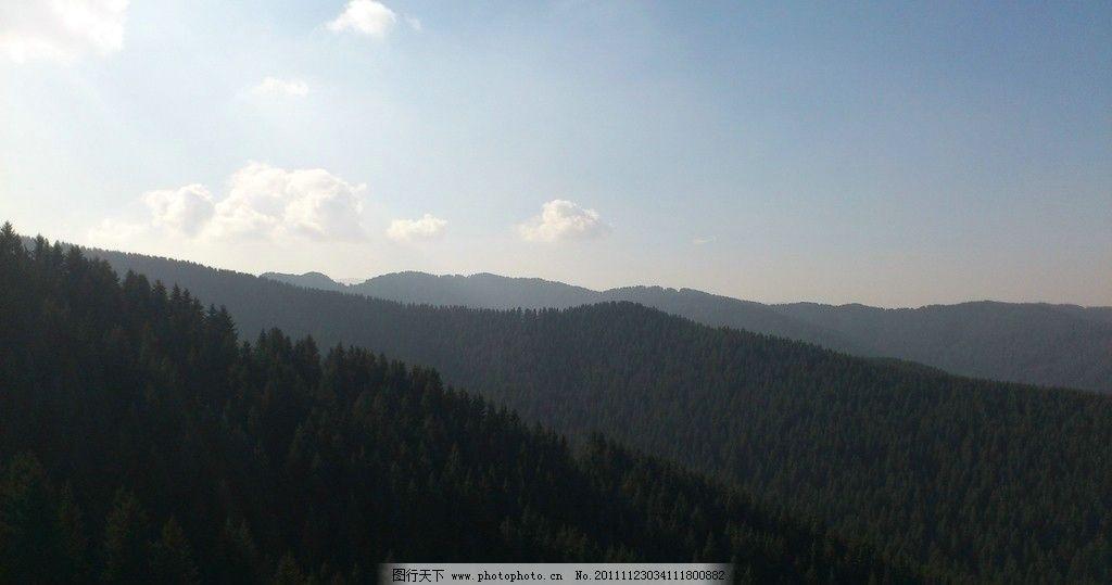 森林大山雪景图片