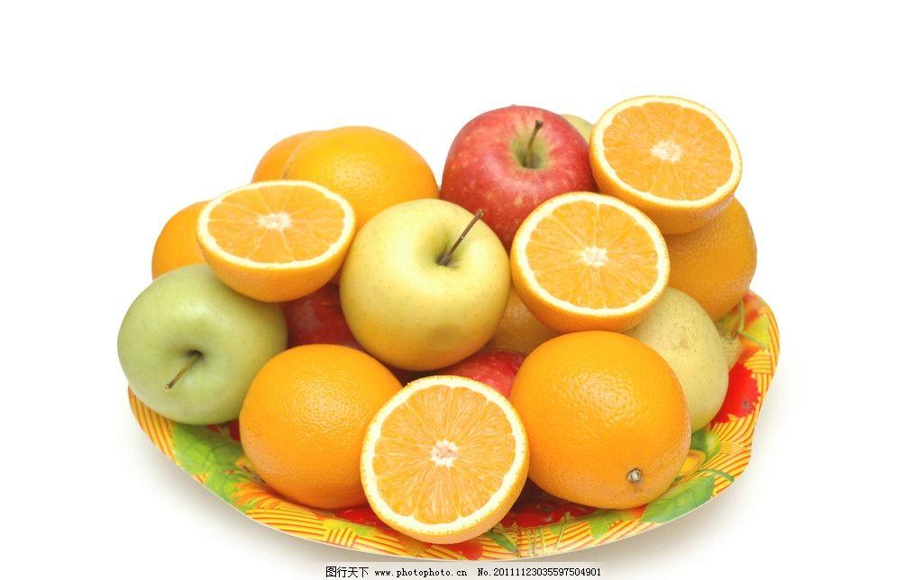 水果盘 水果拼盘 盘子 切开橙子 苹果 生物世界 摄影