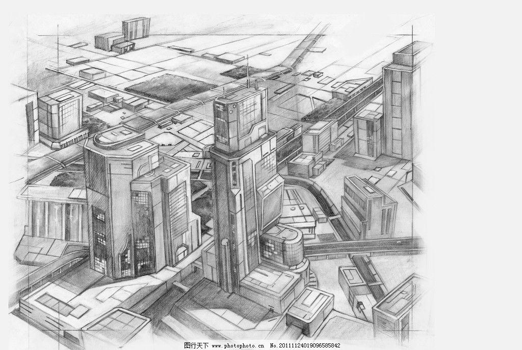手绘建筑 手绘 素描 街道 城市 大厦 绘画书法 文化艺术 设计 300dpi