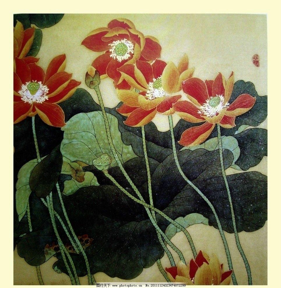 荷花 工笔 花卉 国画 中国古代人物 人物写真 人物图库 设计 72dpi