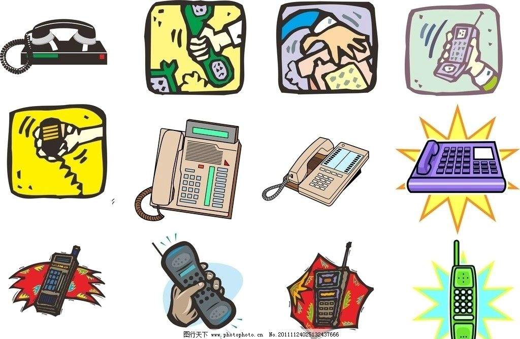 电话机 手机 通讯 cdr档 传声机 话筒 通讯科技 现代科技 矢量 cdr