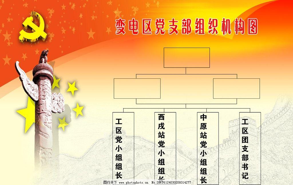 党组织结构图 政府展板 红色背景 表格 华表 展板模板 广告设计模板