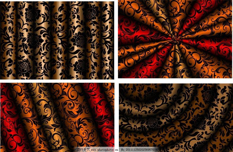 欧式 古典 动感 时尚 潮流 梦幻 窗帘 丝绸 绸缎 布料 花纹 半圆 背景