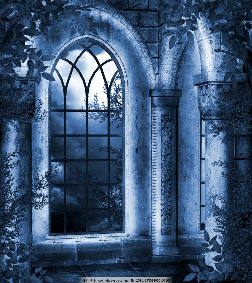 哥特式背景 城堡 恐怖 阴深 暗调