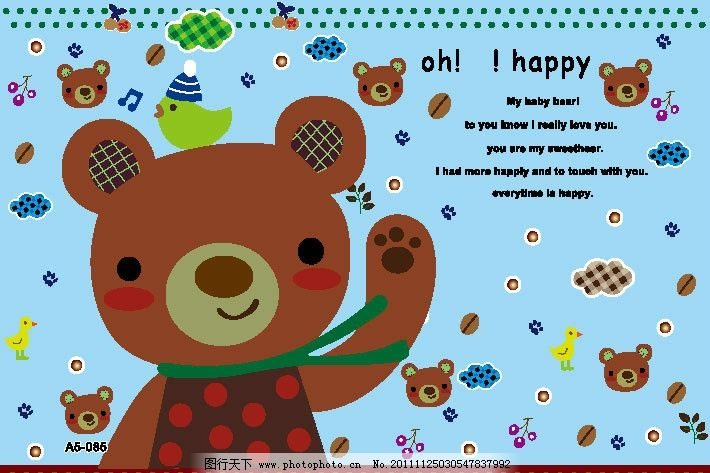 可爱小棕熊小熊头矢量素材图片
