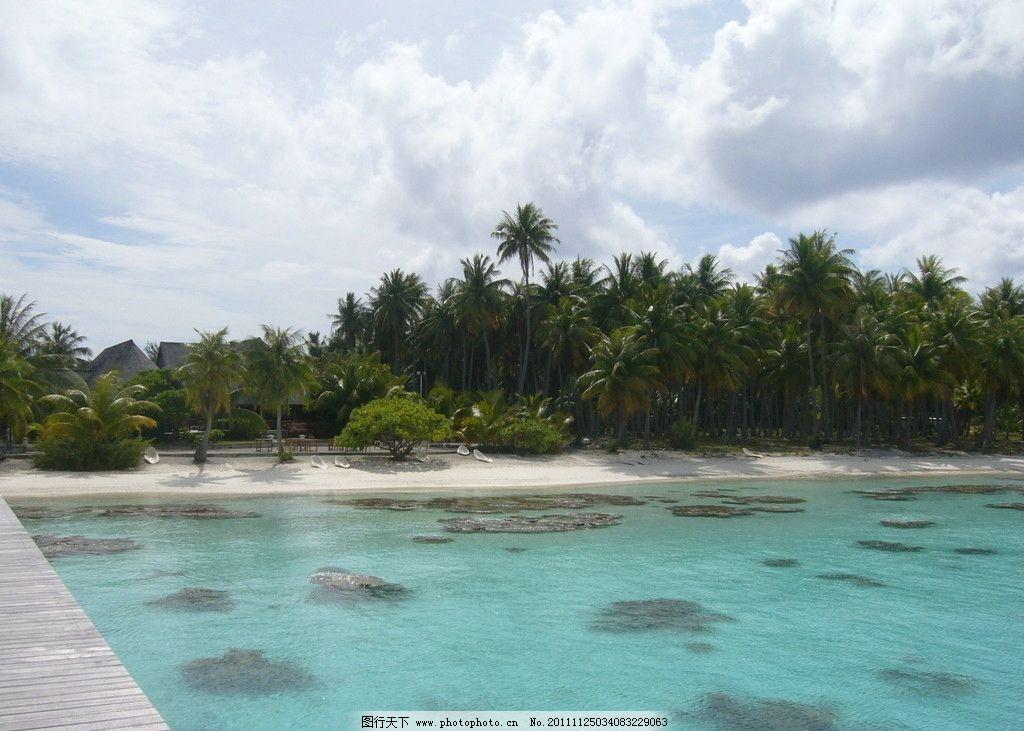 村 夏威夷 度假 风景区 景观 沙滩 民居 宾馆 大海 椰子树 蓝天白云