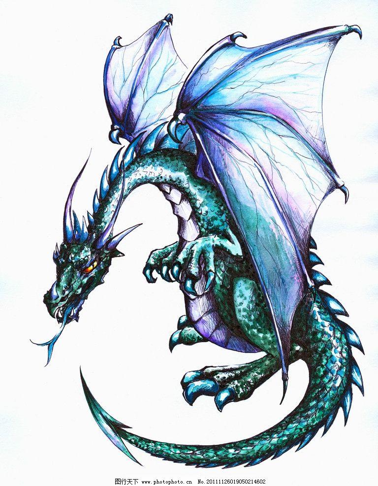 恐龙 手绘 翅膀 绘画书法 文化艺术 设计 300dpi jpg