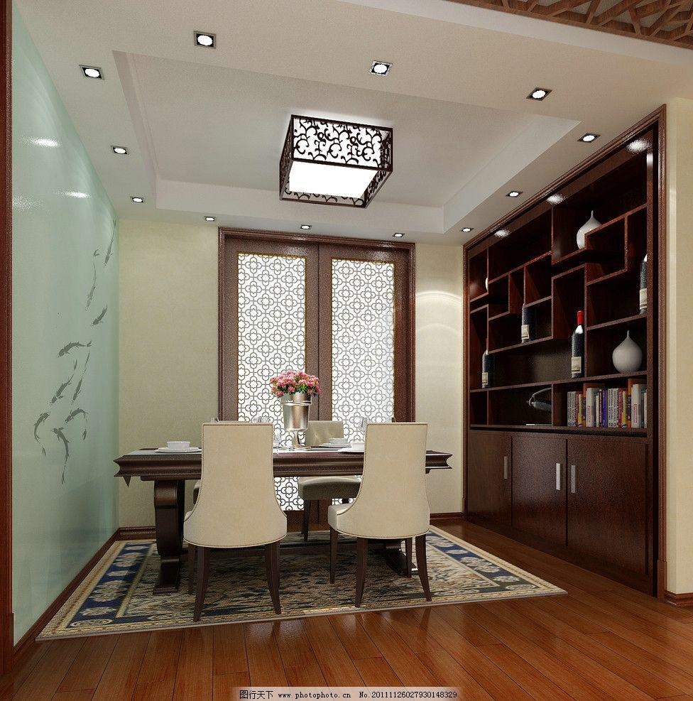 餐厅效果图 餐厅        印花玻璃 餐桌 推拉门 室内设计 环境设计
