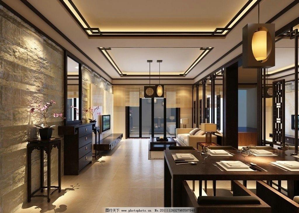 客厅效果      中式客厅 餐厅 中式灯 中式鞋柜 室内设计 环境设计